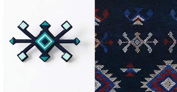 geometric paper brooch side-by-side with fabric pattern inspiration