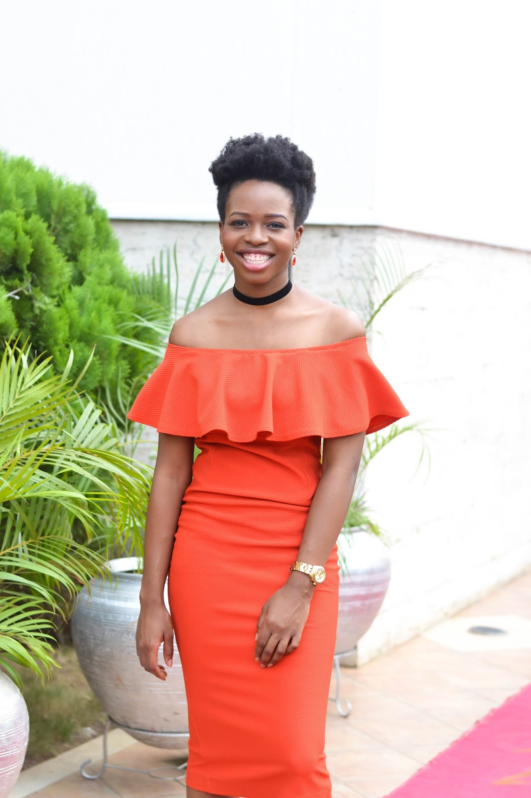Red Off Shoulder Dress on a Beautiful Black Lady