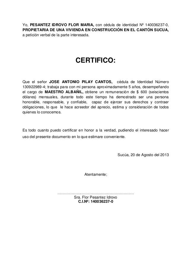 Certificado de Trabajo - Ecuador Noticias