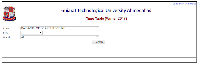 GTU Exam Time Table (Practical / Winter / Viva / External) 2017