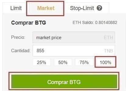 Comprar y Guardar en Wallet Bitcoin Gold (BTG)