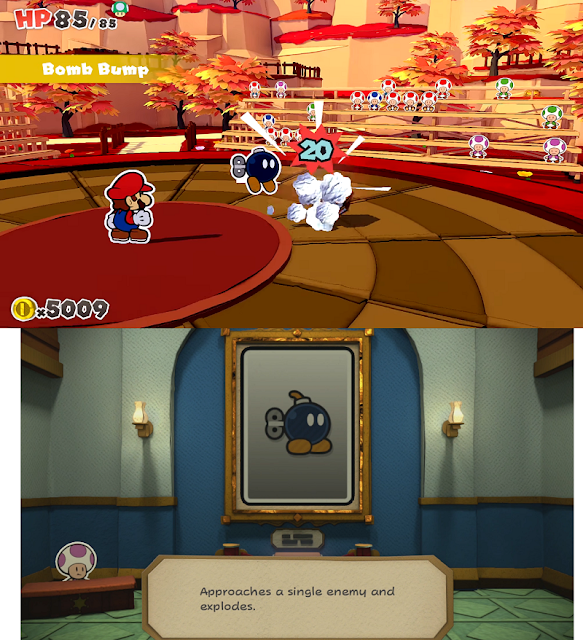 Paper Mario Color Splash Bob-Omb enemy card Bobby Origami King Bomb Bump partner