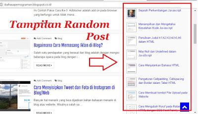 cara menampilkan random post pada blog, script random post