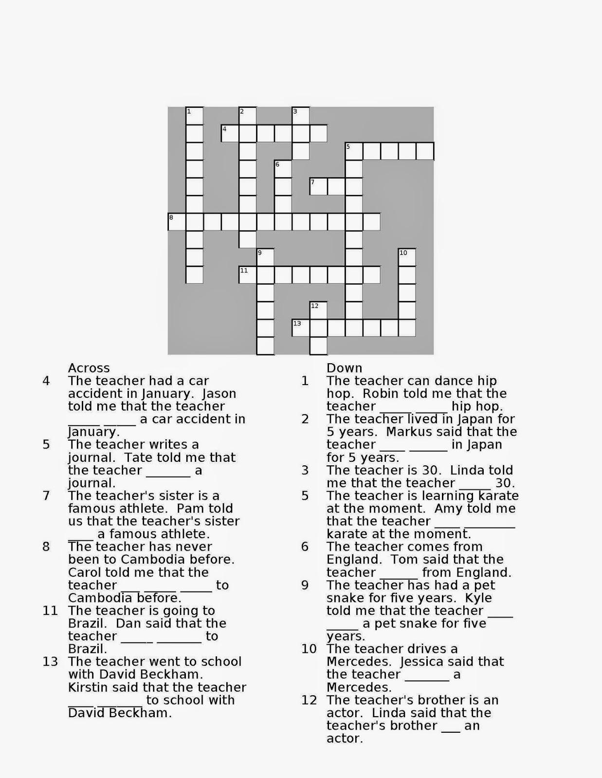 Random Book And Movie Reviews Reported Speech Crossword