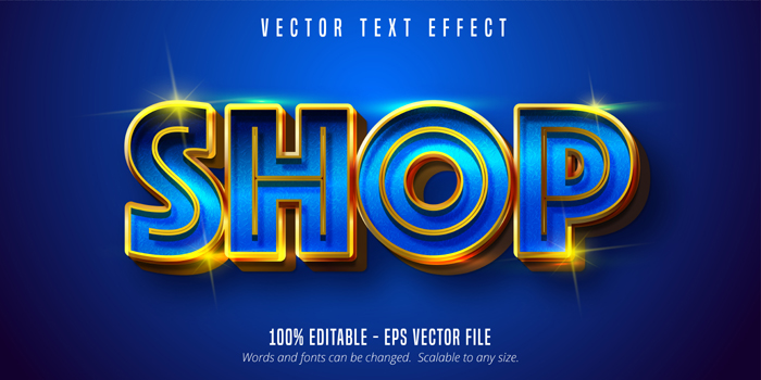 Shop Text Shiny Blue And Gold Style Editable Text Effect