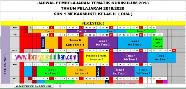 Jadwal Pelajaran Tematik Kurikulum 2013 SD Kelas 2 Semester 2 Sudah Jadi, http://www.librarypendidikan.com/