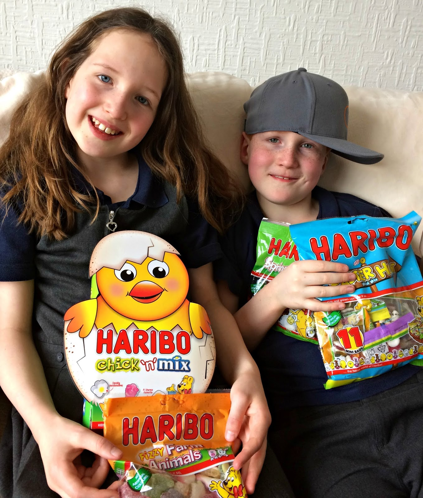Caitlin & Ieuan with HARIBO's spring time and Easter treats