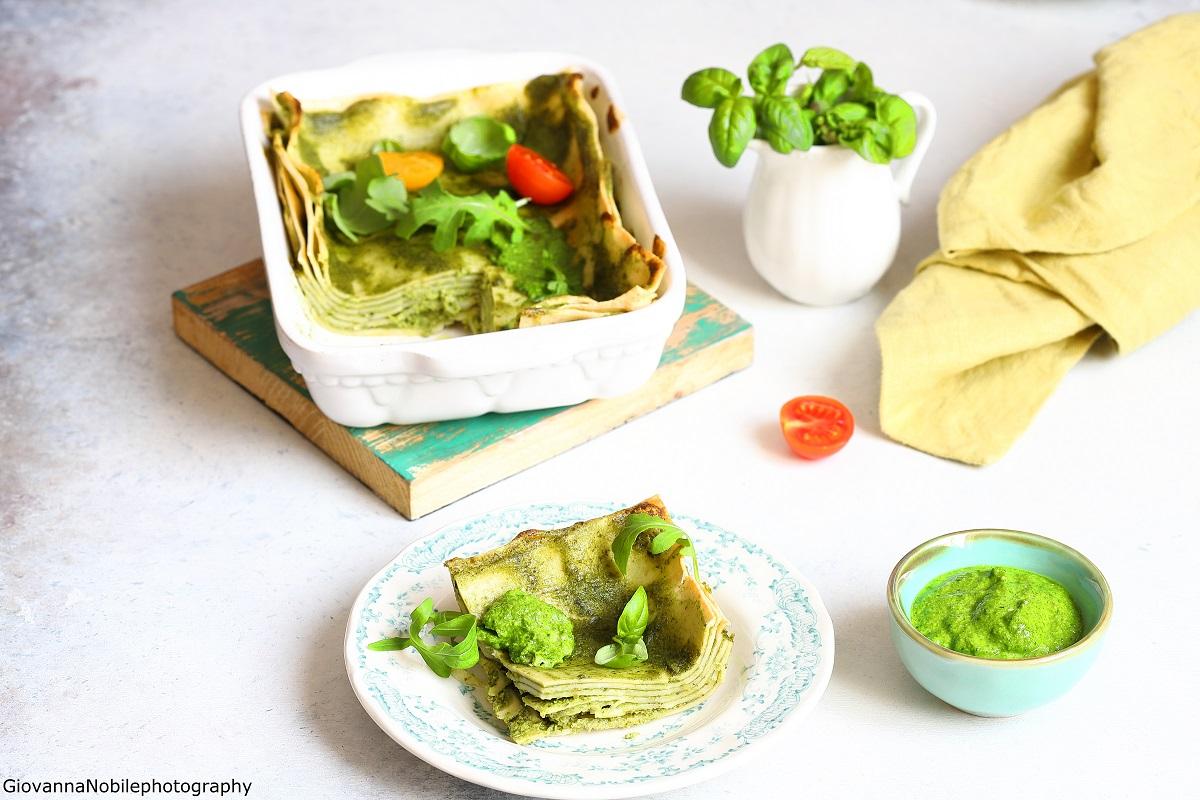 Lasagne col pesto di basilico e rucola