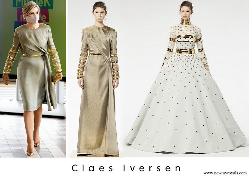 Queen Maxima wore Claes Iversen Embellised Draped Midi Dress