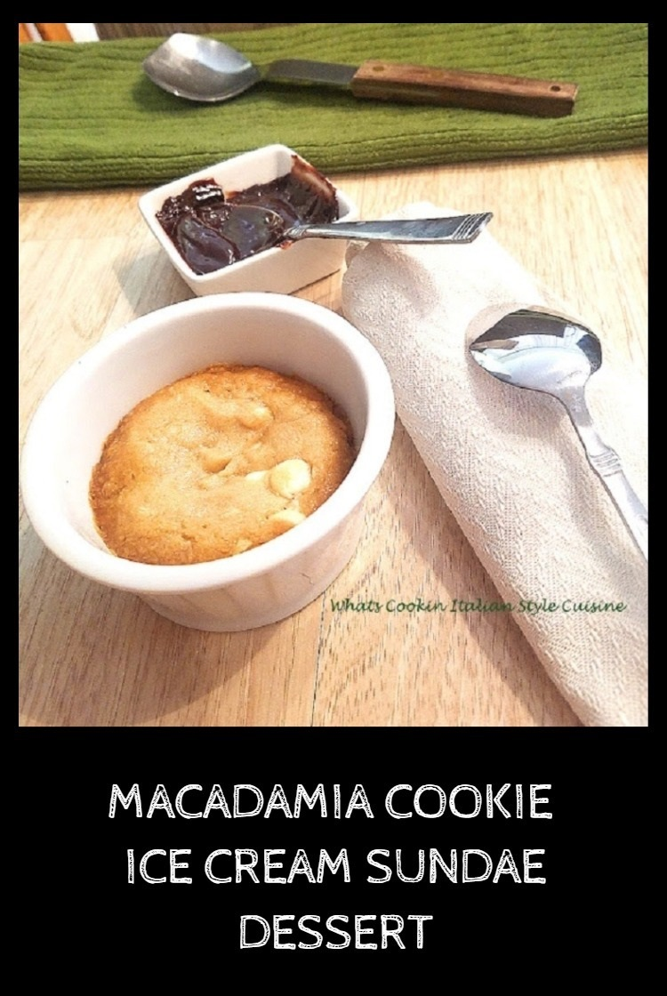This is a well known copycat macadamia nut cookie called a Pizookie. This is also referred to as a pizza cookie. It has a cookie with ice cream topped with hot fudge and caramel swirled