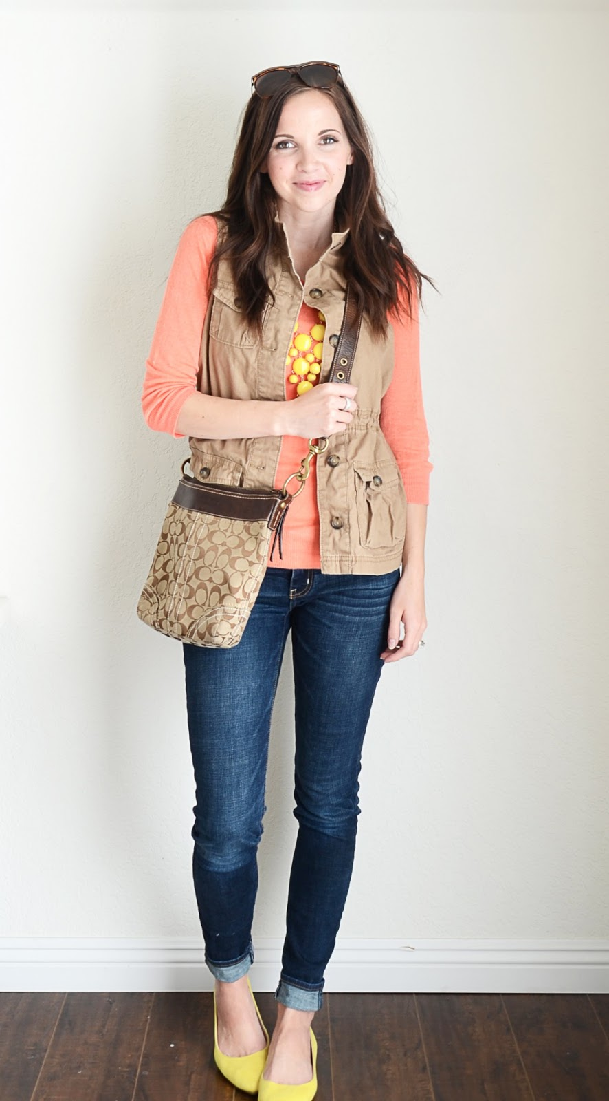 bfec02f80b0e vest: old navy (similar, similar, and similar) // sweater: nordstrom rack  (similar) // necklace: c/o wild about jewelry (shop) // jeans: american  eagle ...