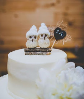 owl winter theme wedding cake topper