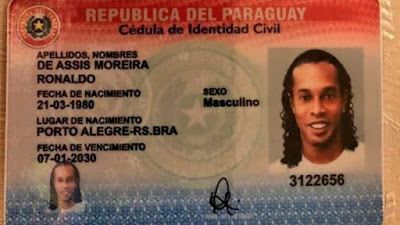 Ronaldinho passport in Paraguay. PHOTO | ESPN|AFP