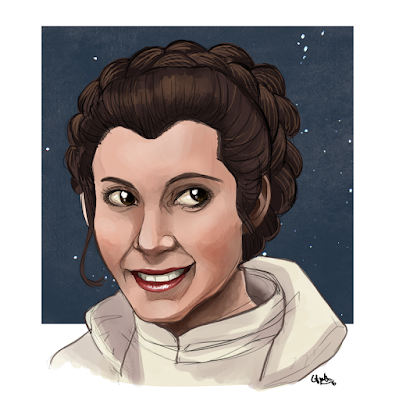 Portrait of Carrie Fisher as Leia Organa, digital painting