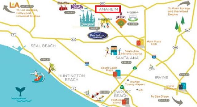 Mapa de onde ficar em Anaheim: Melhores regiões