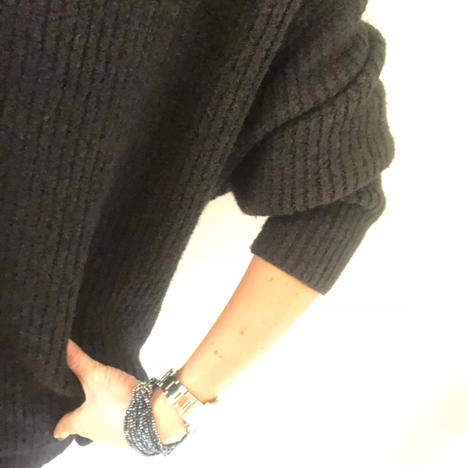 my midlife fashion, zara oversized roll neck sweater, marks and spencer leather leggings, marks and spencer kitten heel pony skin ankle boots, olia jewellery grace bracelets