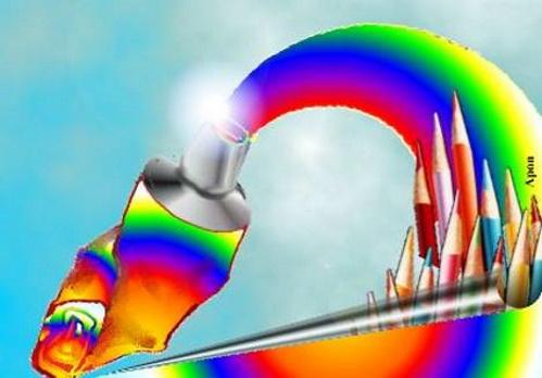 Bisnaga de tinta, multicolorindo, composição de Antonio Pereira Apon.