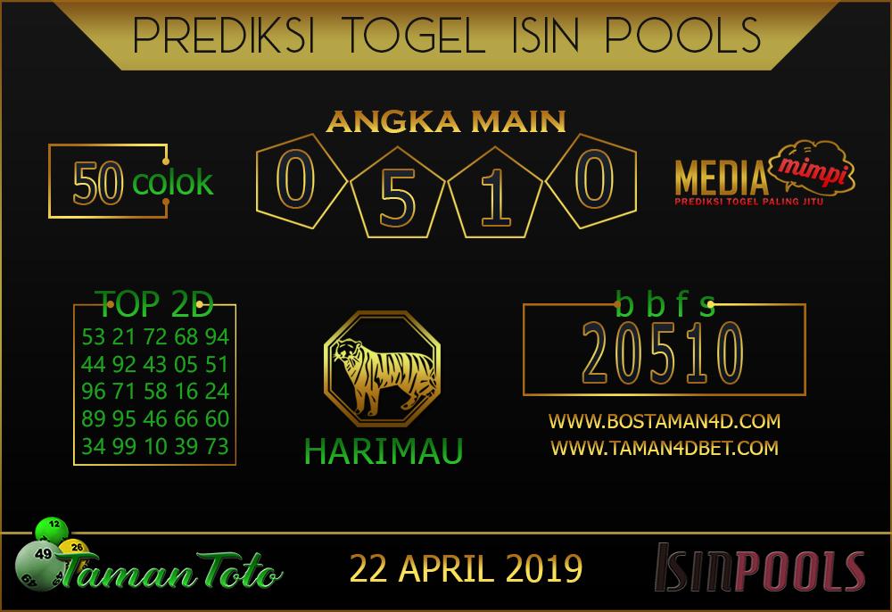Prediksi Togel ISIN TAMAN TOTO 22 APRIL 2019