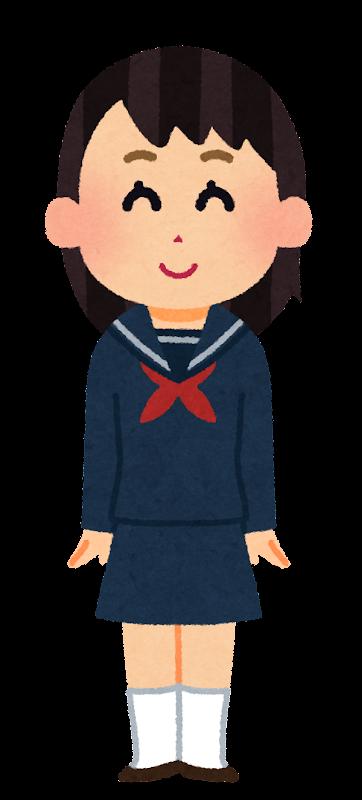 女子高校生女子中学生のイラストセーラー服 かわいいフリー素材
