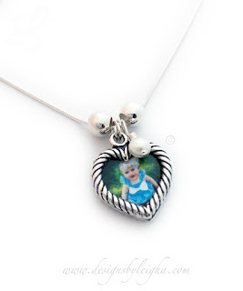 Heart Picture Frame Charm Necklace with a Pearl Birthstone Charm - up to 9 charms per necklace or bracelet