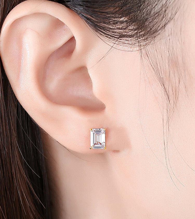 優雅單鑽幾何鋯石 925純銀耳環
