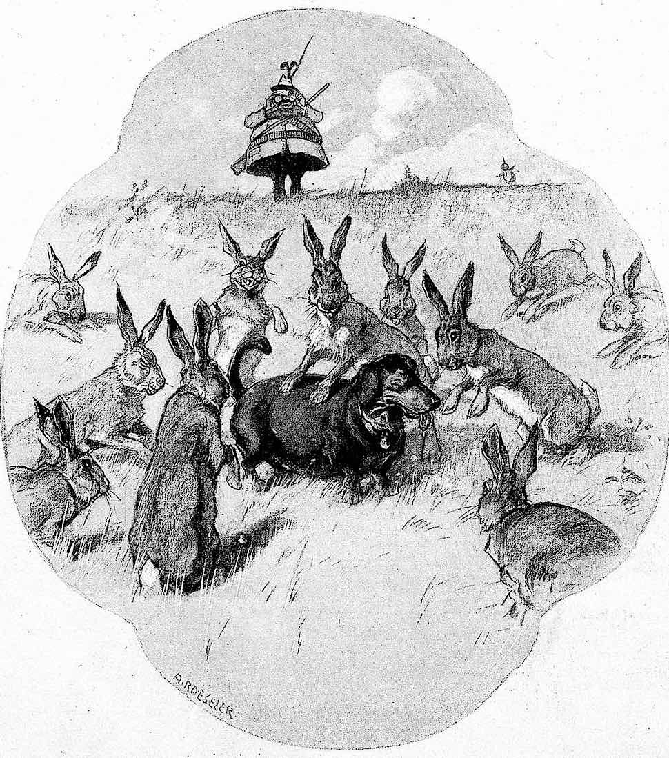 an August Roeseler cartoon of an unsuitable hunting dog