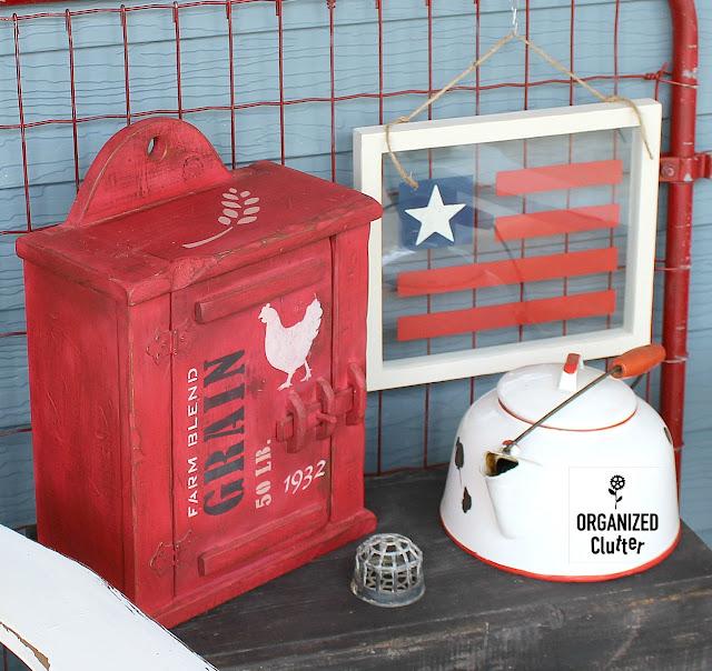Garage Sale Floating Frame Patriotic Flag Project #floatingframe #stencil #USflag #Patrioticdecor #4thofJuly #garagesalefind #frameideas