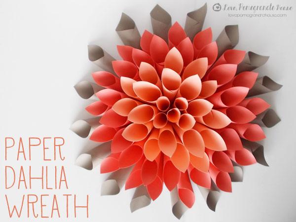 Lovepomegranatehouse Paper Dahlia Wreath