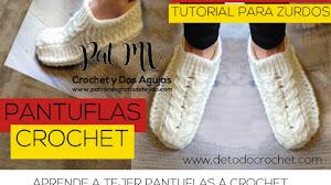 Pantuflas a Crochet con Trenza 😍 Tutoriales para Diestros y para Zurdos