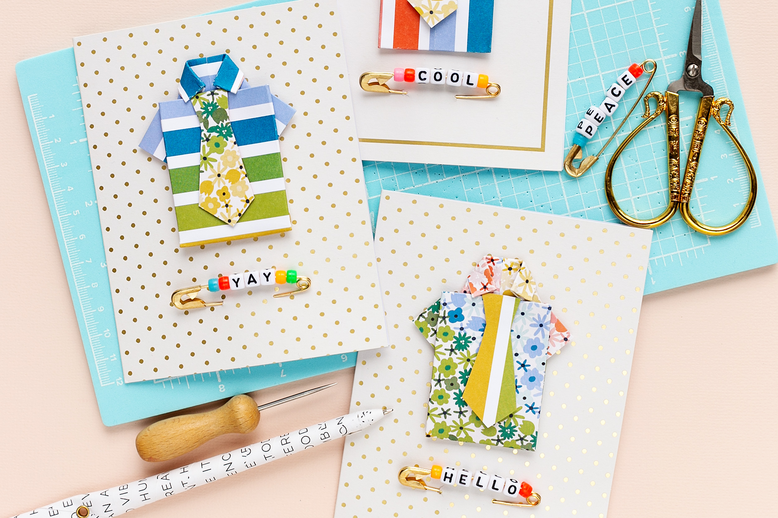 Create fancy father's day cards with the all-in-one-tool three cards with colorful shirts and ties Scrapbooking Cardmaking Mojosanti