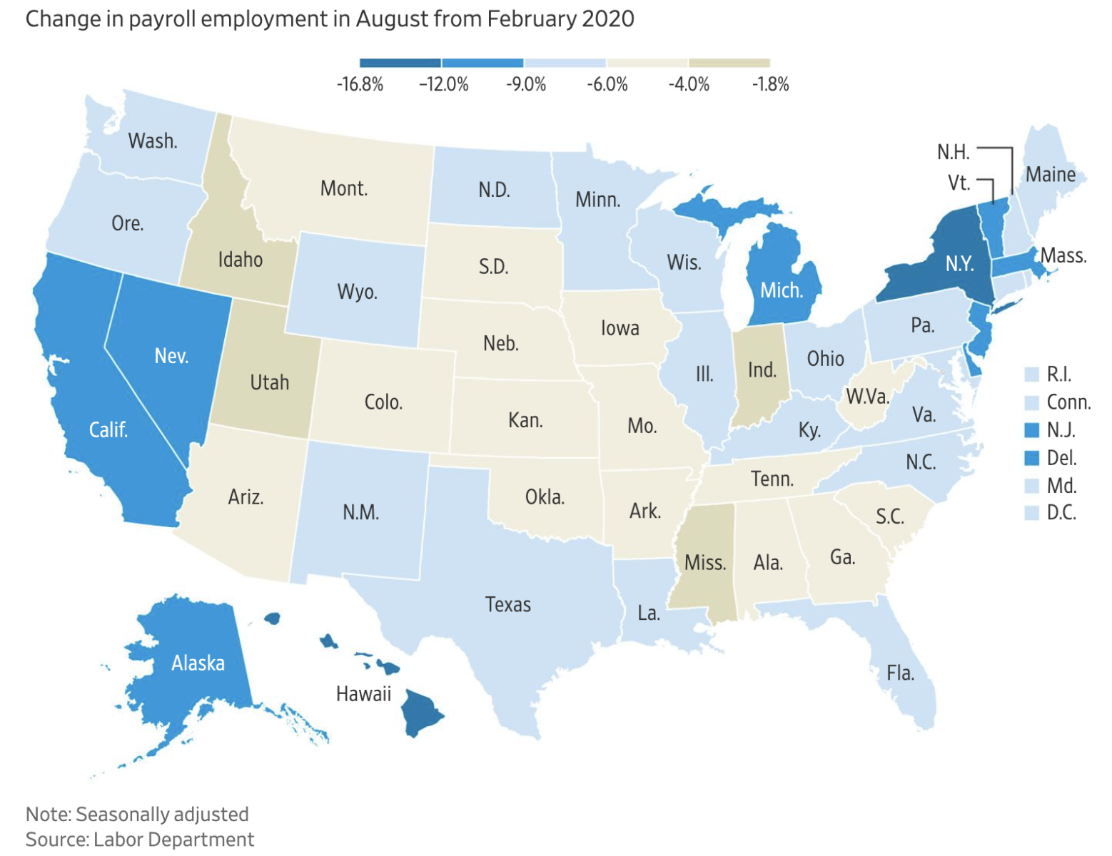 WSJ: Change in Payroll Employment in August from February 2020