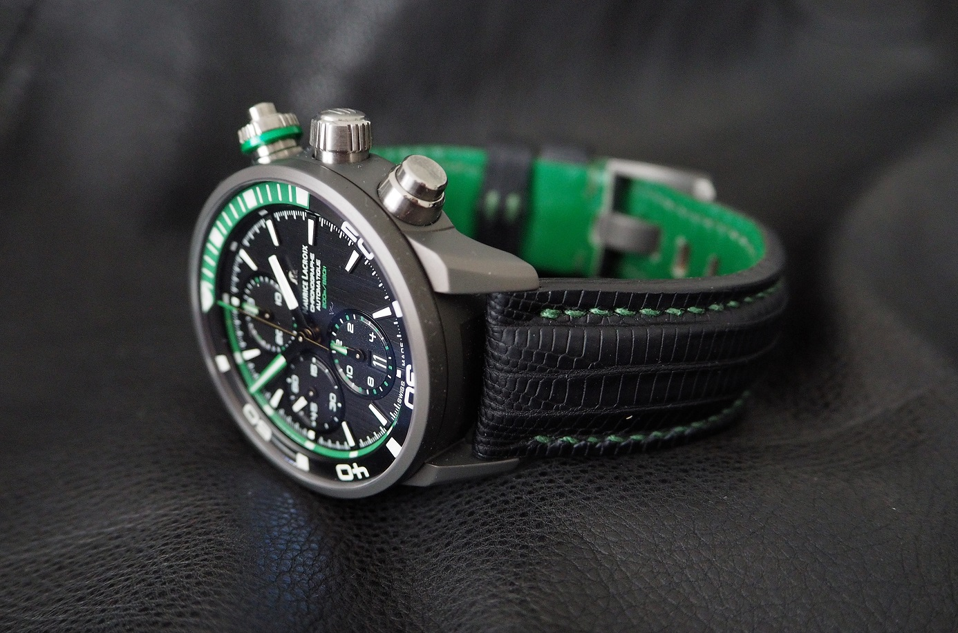 Oliver's Maurice Lacroix PONTOS S EXTREME Chronograph on SuperMatte Teju with Green stitching and l