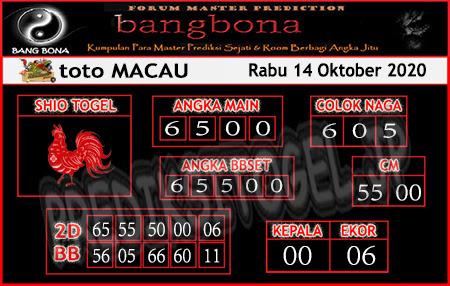 Prediksi Bangbona Toto Macau Rabu 14 Oktober 2020