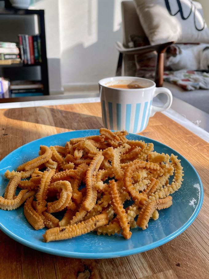 Butter Murukku with cup of chai