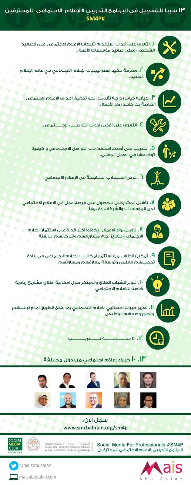 13 سبباً للتسجيل في البرنامج التدريبي #الإعلام_الاجتماعي_للمحترفين #SM4P #انفوجرافيك