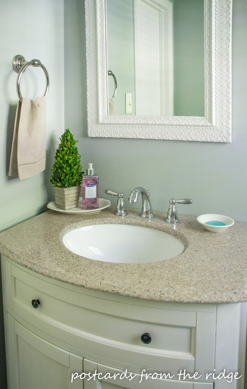 Use small ironstone dishes in the bathroom for soaps, etc.