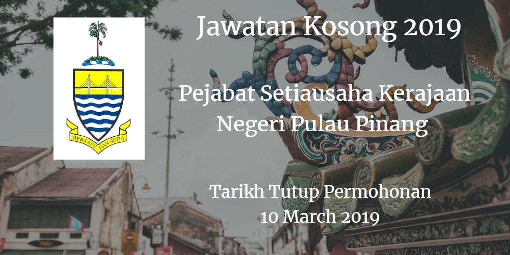Jawatan Kosong Pejabat Setiausaha Kerajaan Negeri Pulau Pinang 10 Mac 2019