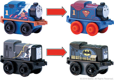 San Diego Comic-Con 2016 Exclusive DC Super Friends Thomas & Friends Minis Box Set by Mattel - Thomas as Superman/Clark Kent & Diesel as Batman/Bruce Wayne