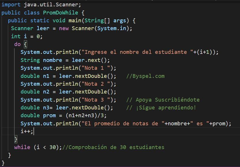 Programa utilizando DO que lea 3