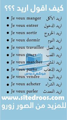 كيف اقول انا اريد بالفرنسية (الفعل Vouloir) في جمل