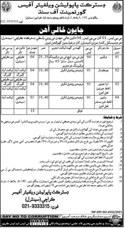 District Population Welfare Office Government Of Sindh Jobs 2021 Mitiyari Sindh