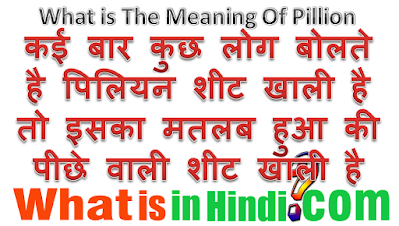 What is the meaning of Pillion in Hindi