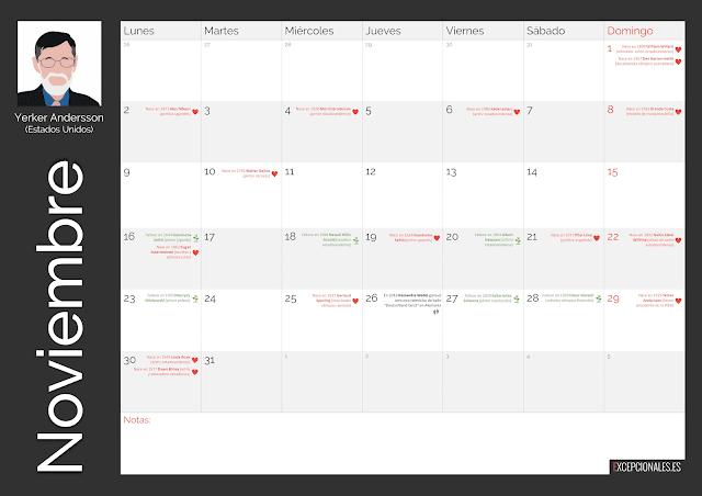 Calendario Excepcionales Noviembre 2020