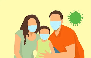 Keluarga menggunakan masker
