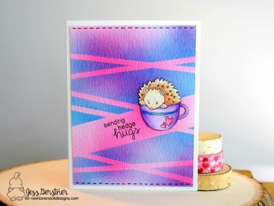 Sending Hedge Hugs card by Jess Gerstner  | Hedgehog Hollow Stamp set by Newton's Nook Designs #newtonsnook #hedgehog