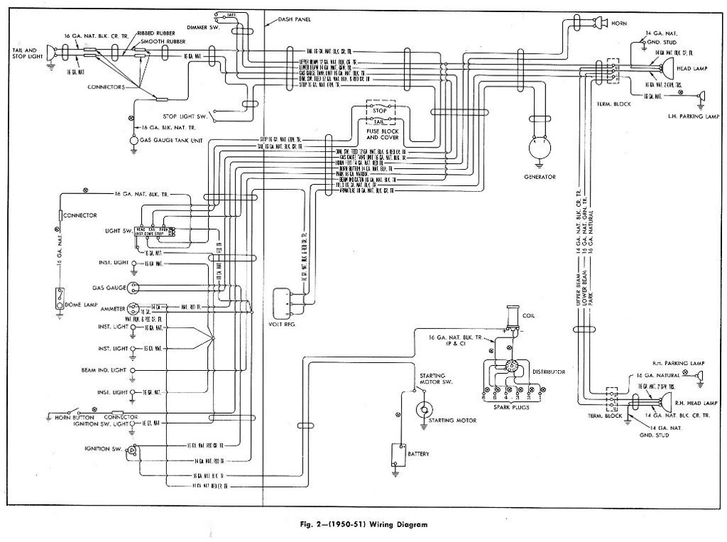 Complete Wiring Diagram of 1950-1951 Chevrolet Pickup
