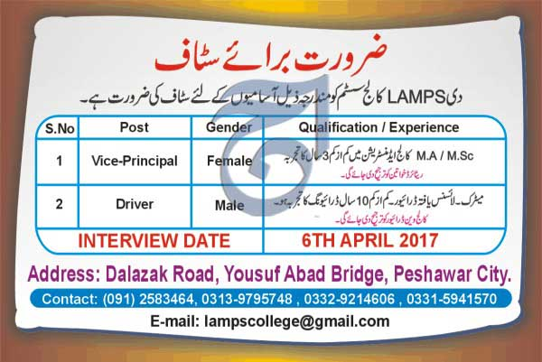 The Lamps College System Peshawar Jobs