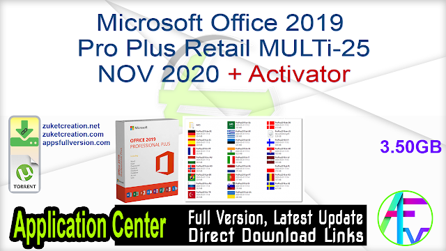 Microsoft Office 2019 Pro Plus Retail MULTi-25 NOV 2020 + Activator