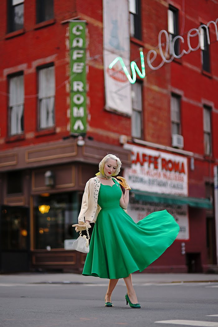 c76d3178e5ddf Lola at Caffé Roma ... she is a perfect pairing! This dress is still on sale  at The Pretty Dress Company, and today I'm featuring the striking emerald  ...