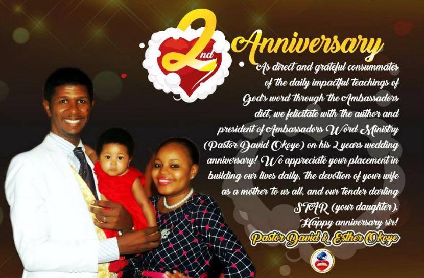 Pastor David Okoye and wife, Pastor Esther celebrates 2nd marriage
